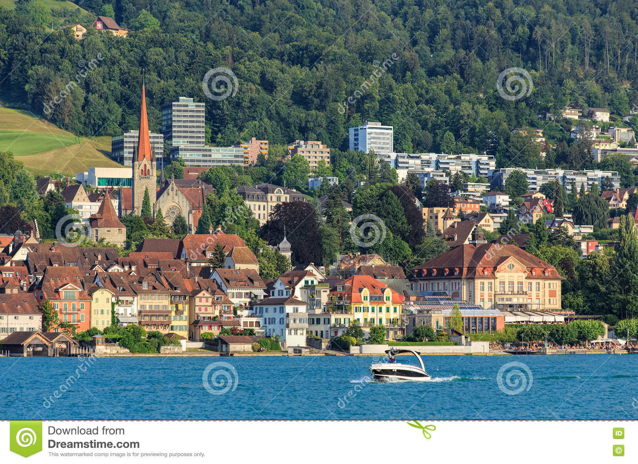 View On The City Of Zug From Lake Zug Editorial Photography - Image ...