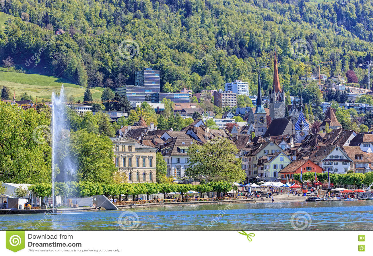 View On The City Of Zug From Lake Zug Editorial Stock Image - Image ...