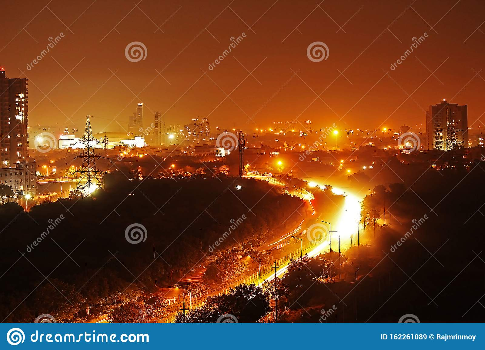 View Of Busy The Cityscape Of Noida At Night Stock Image