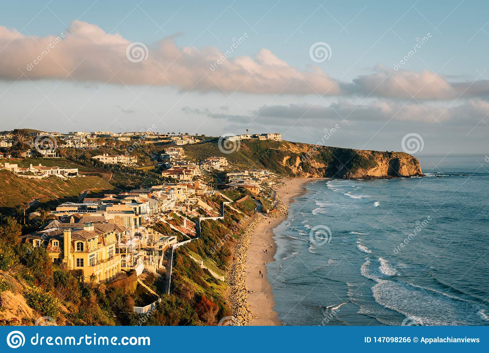 View of cliffs and Strand Beach, in Dana Point, Orange County, California