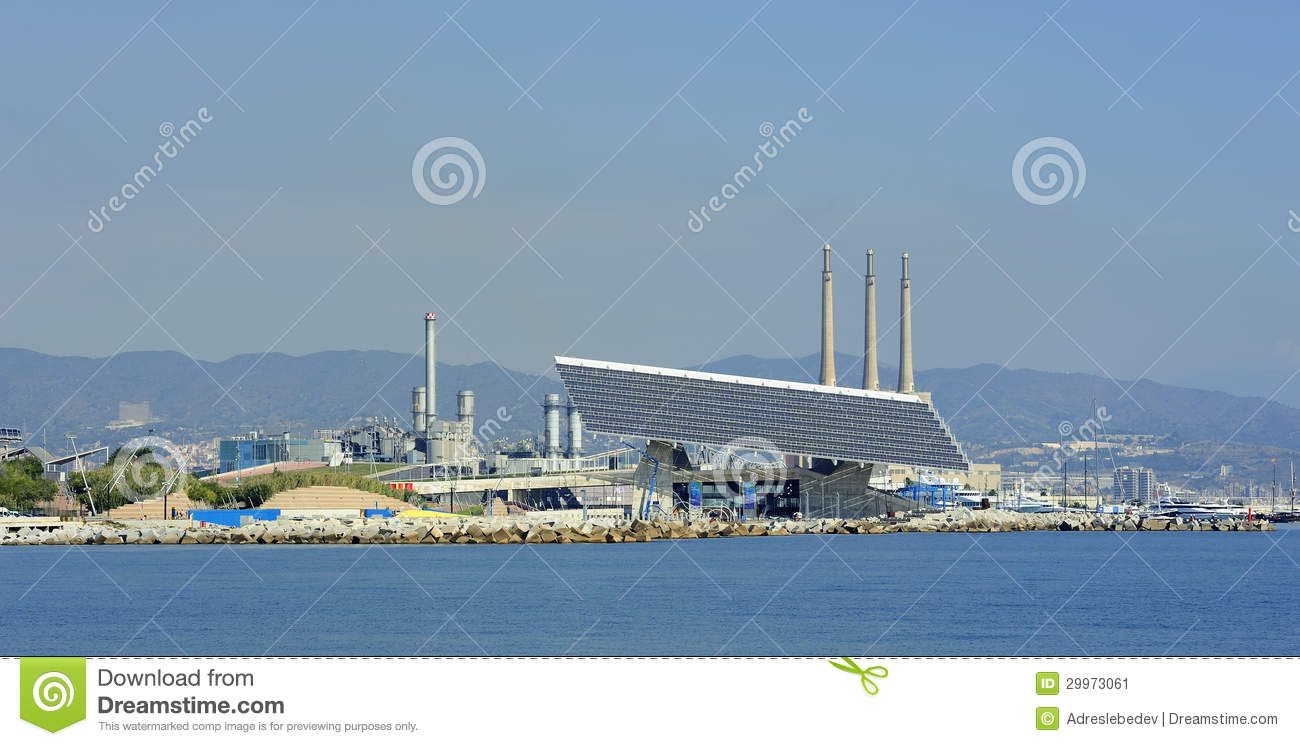 Solar panel at barcelona forum and central termica del besos stock image image 29973061 - Solar barcelona ...