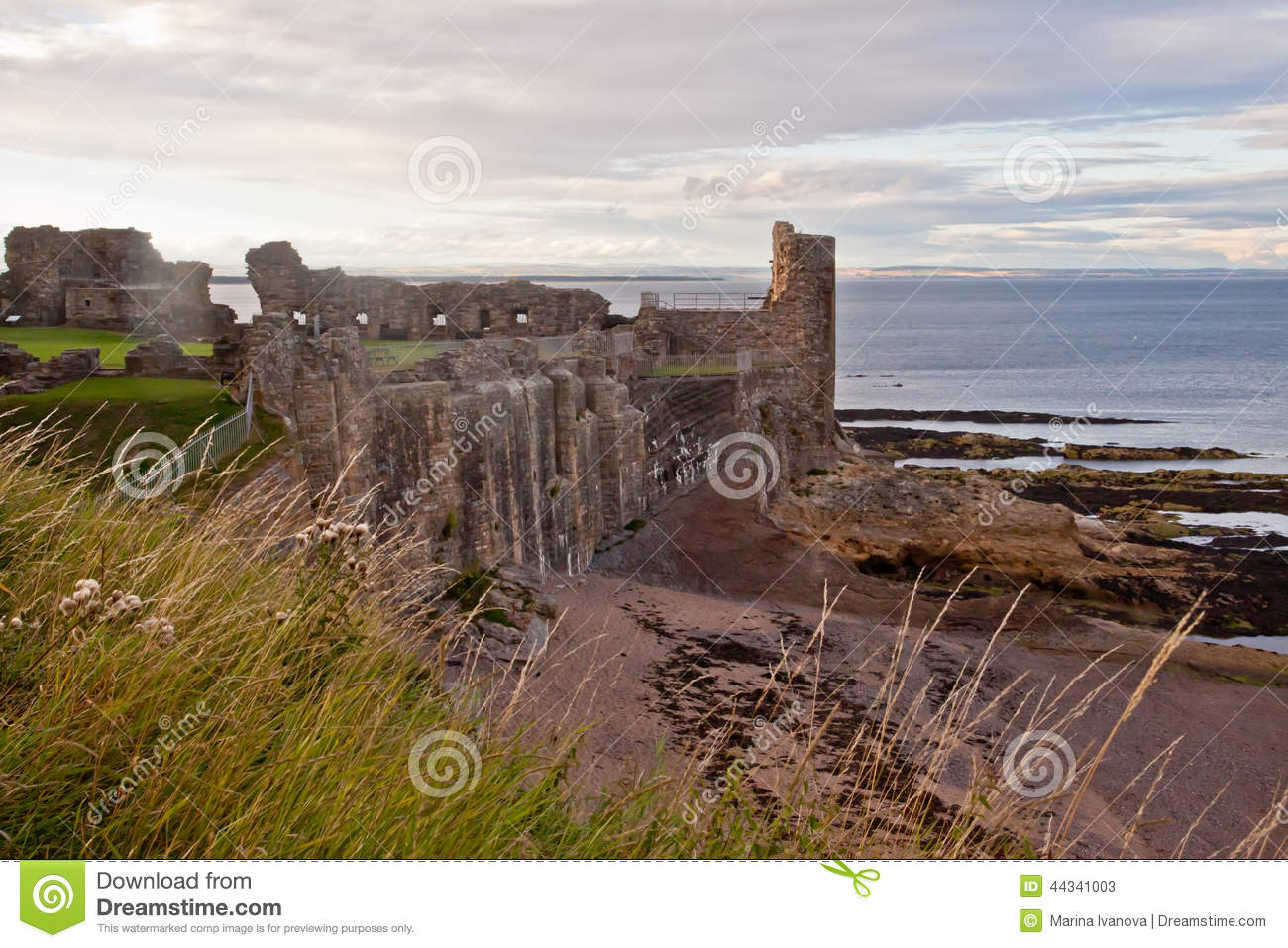 A view of the coast and St Andrews castle, Scotland