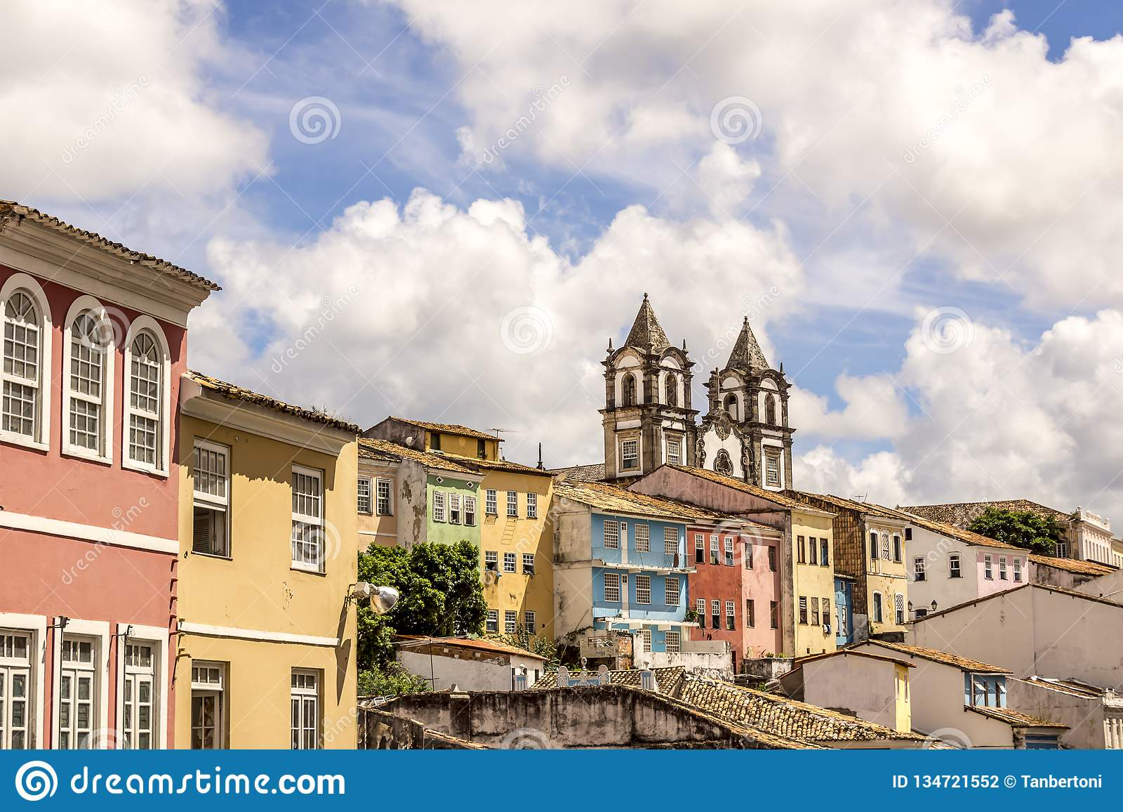 Colonial architecture view of Salvador city in Bahia Brazil