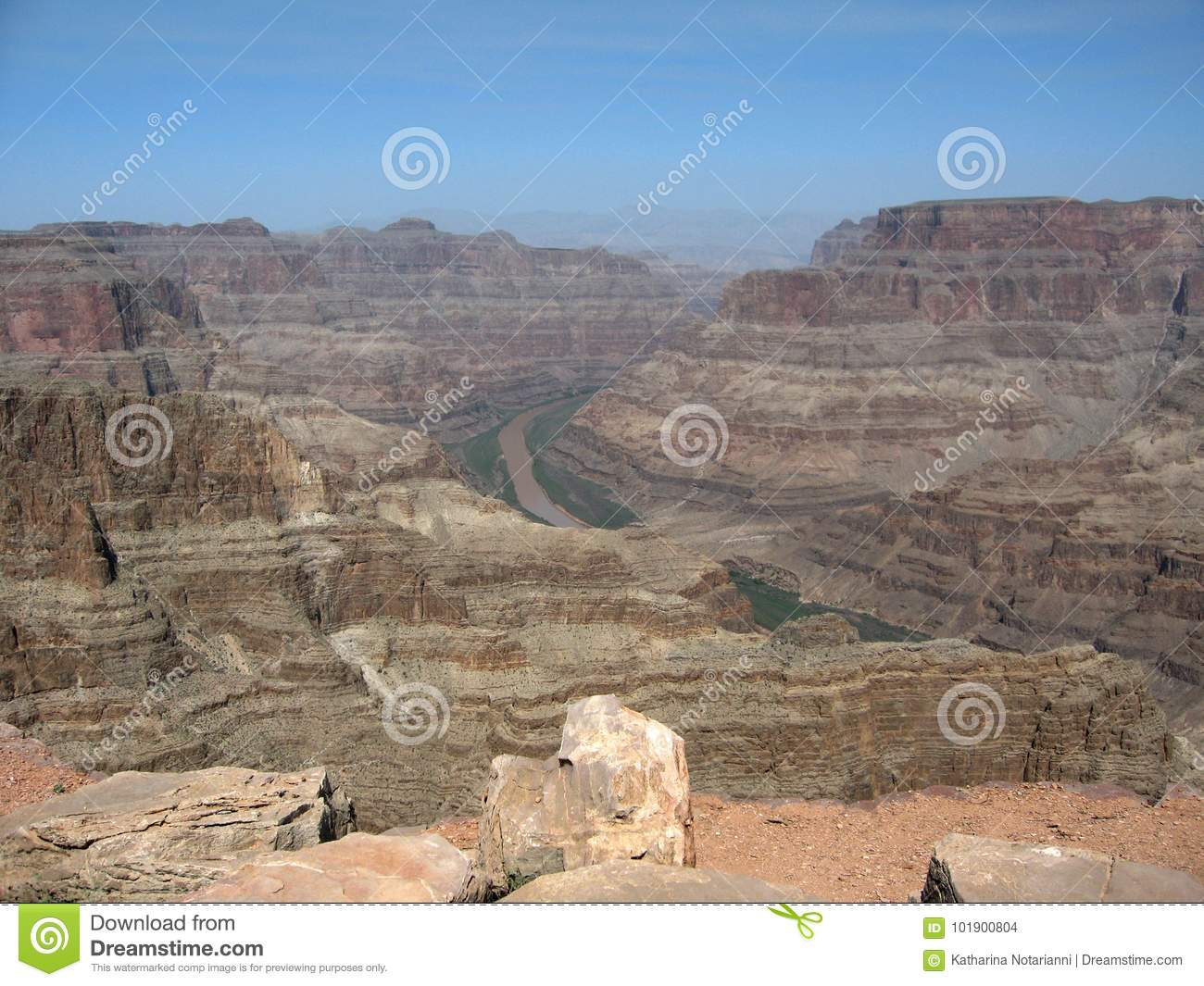 View of the Colorado River flowing through the Grand Canyon West Rim in Northwestern Arizona