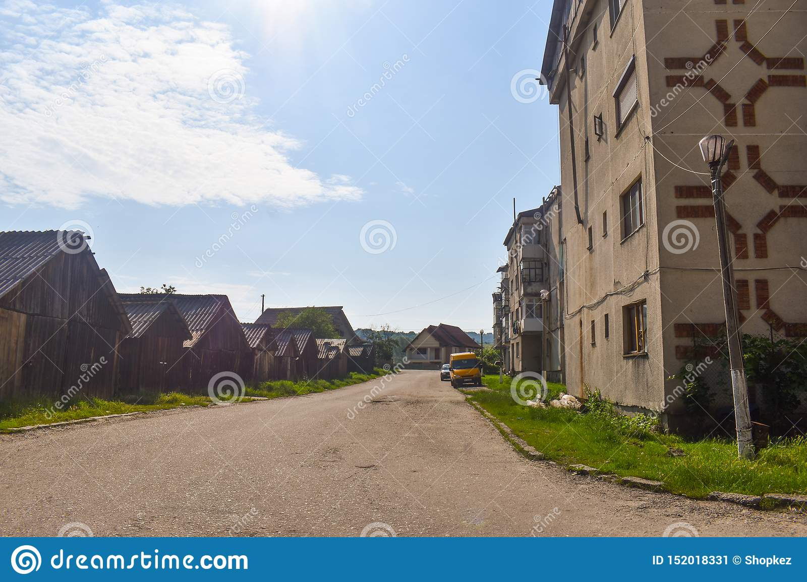 View of the communist blocks and urban decay in the small mining town Berbesti. Romania, Valcea County, Berbesti Alunu 20.06.2019