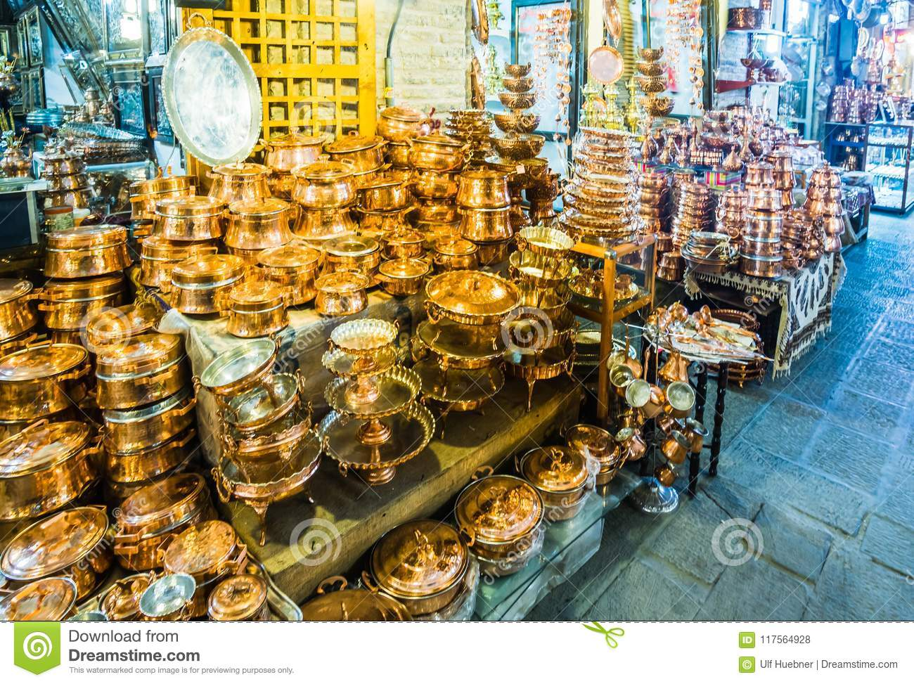 Copper Handicrafts In The Bazar Of Isfahan - Iran Stock Photo