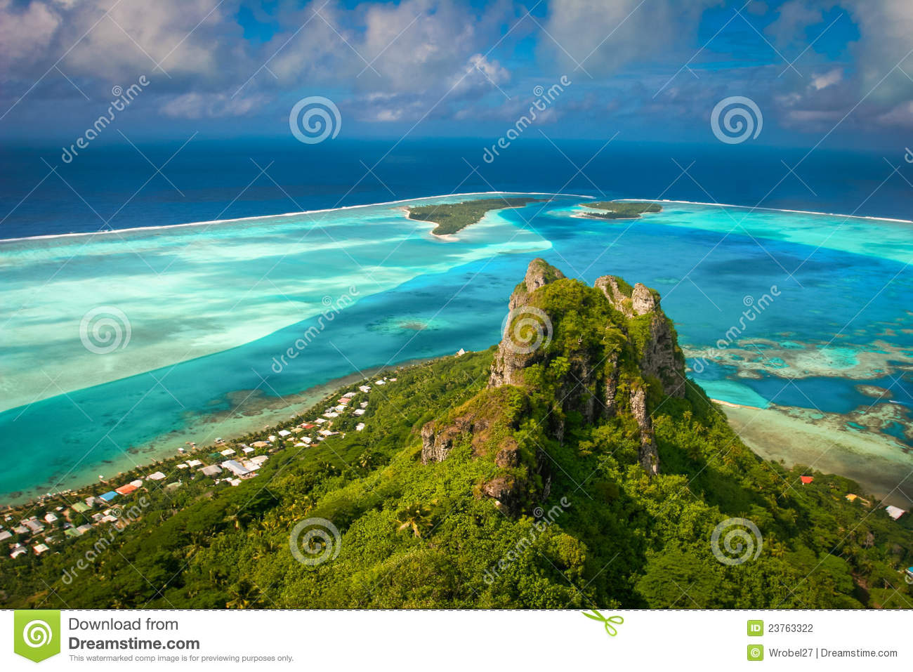 View of coral reef, Maupiti, French Polynes
