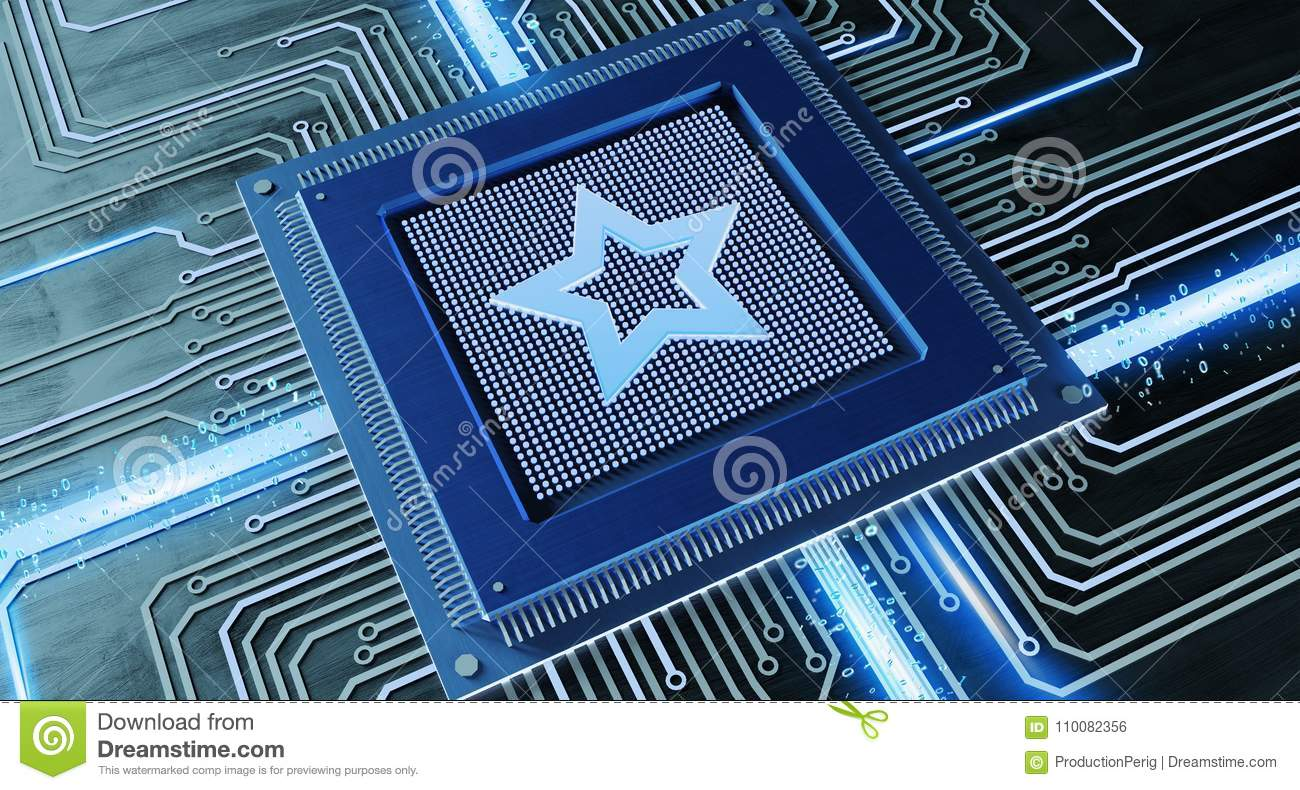 CPU Processor With A Favorite Star And Network Connection On A C ...