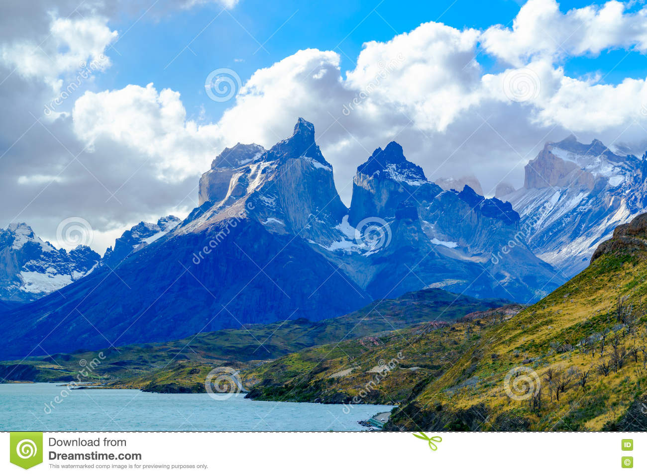 View of Cuernos Del Paine at Lake Pehoe
