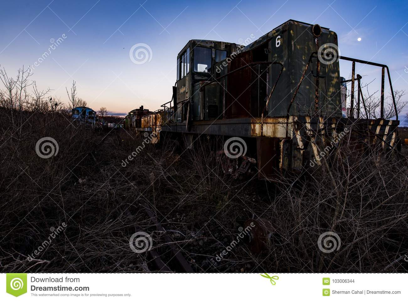 Derelict Locomotive At Sunset - Abandoned Railroad Trains