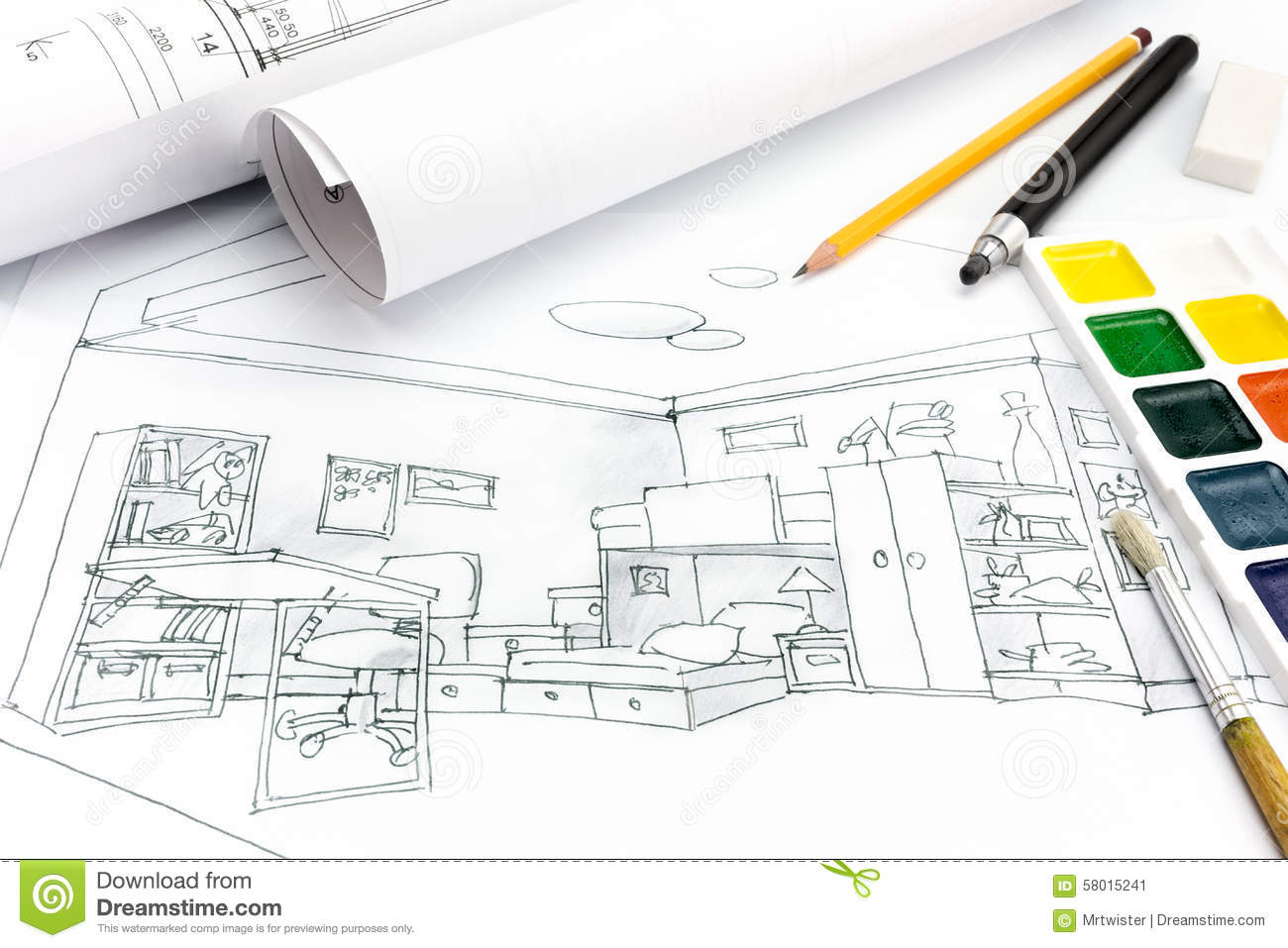 Designers drawing tools on colored draft sketch of living for Room drawing tool