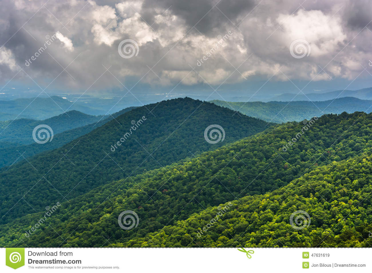 View of distant mountains from the Blue Ridge Parkway in North C