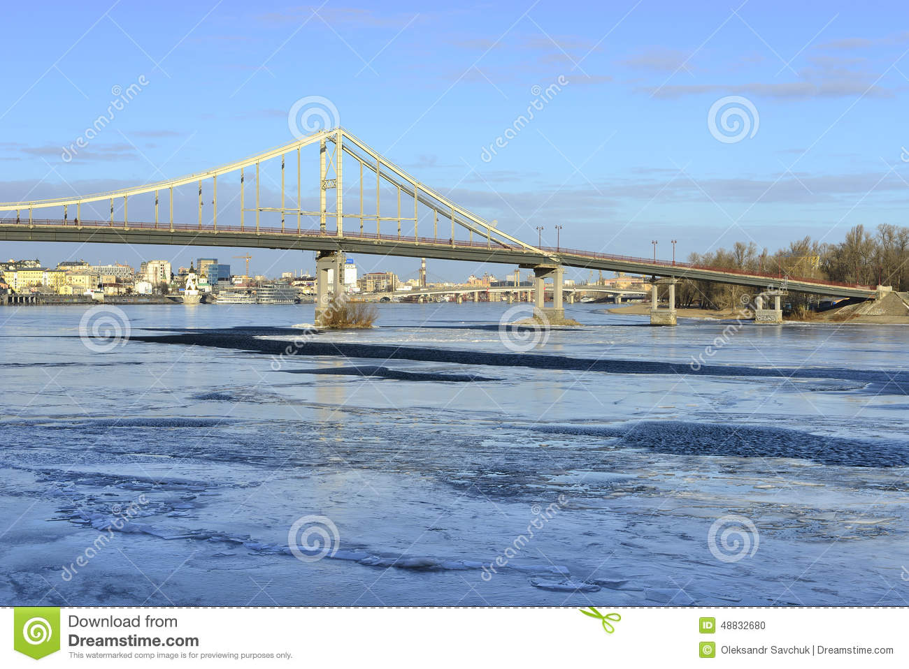 View of the Dnieper river and a footbridge