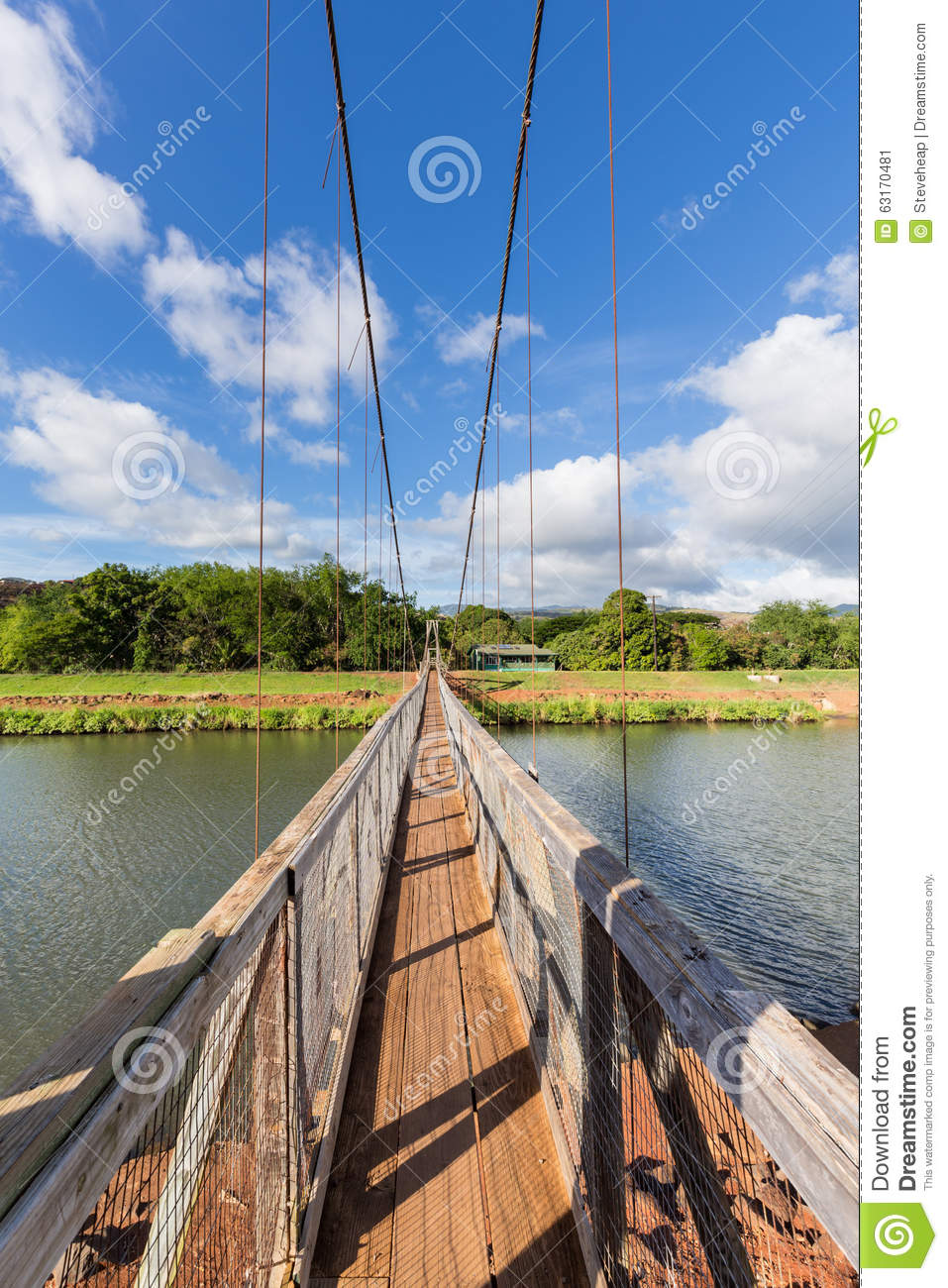 View Down The Famous Swinging Bridge In Hanapepe Kauai Stock