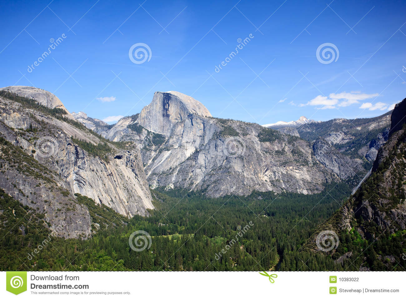 View down Yosemite Valley to Half Dome