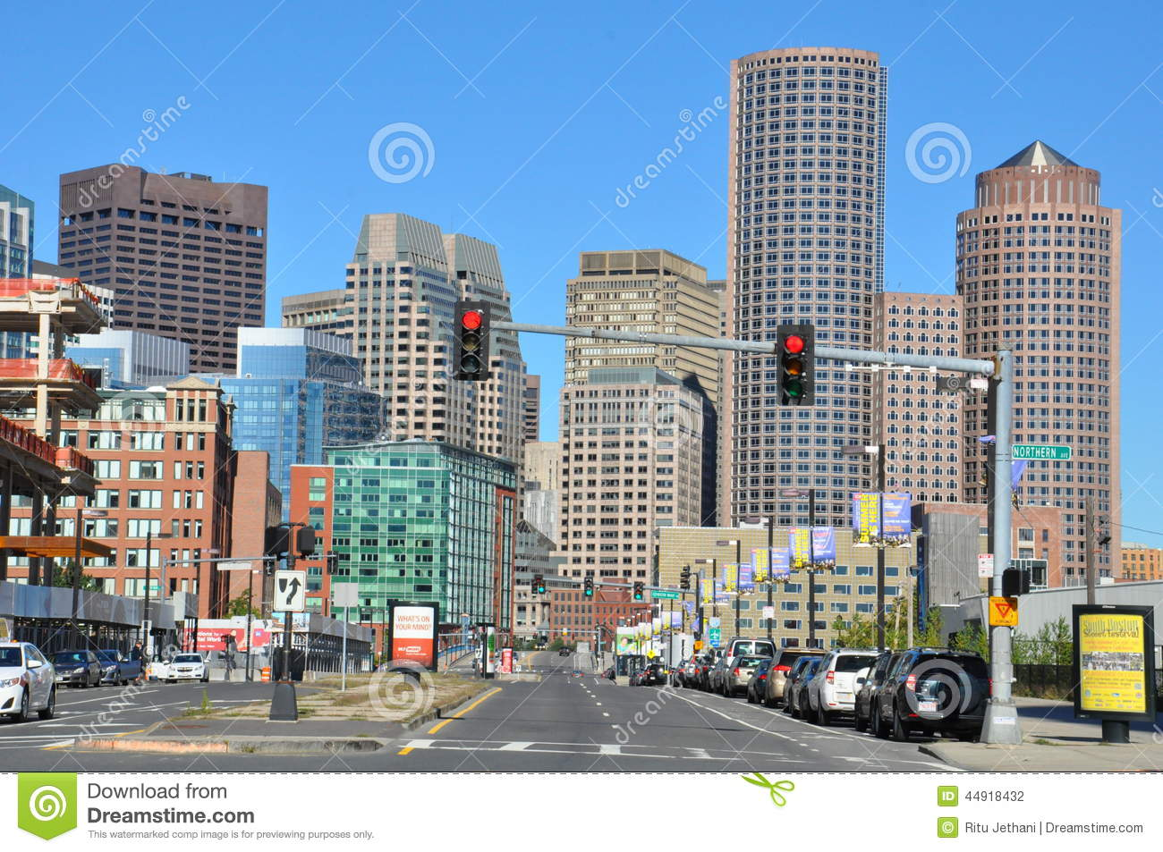 View of downtown Boston in Massachusetts. Cityscape, modern.