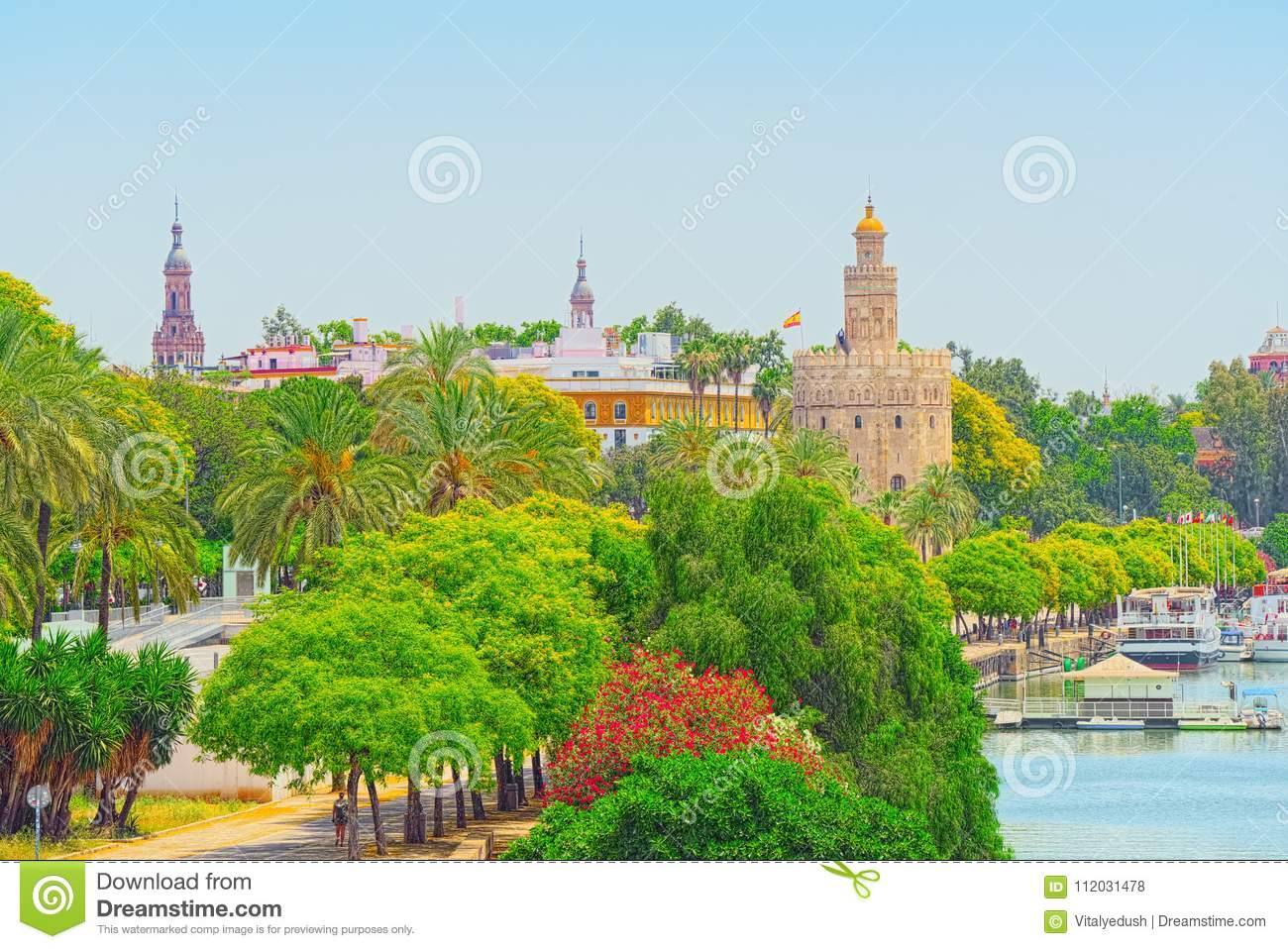 View on downtown of Seville and Guadalquivir River Promenade.