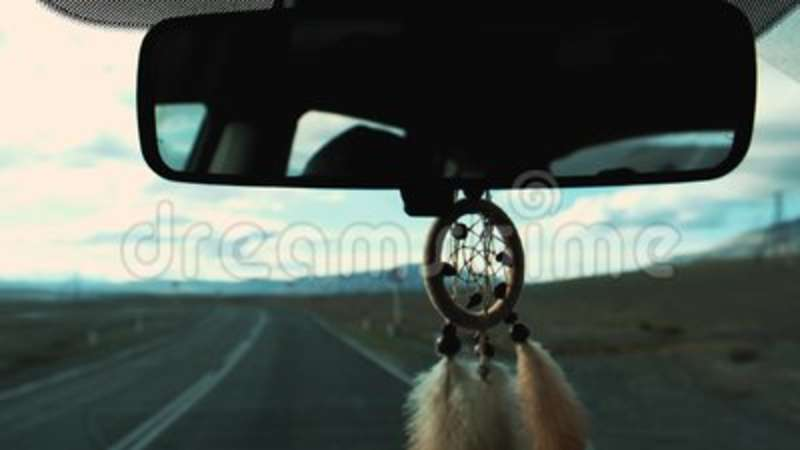 View Of Dream Catcher Hanging From Rearview Mirror Inside Car Fascinating Dream Catcher To Hang In Car