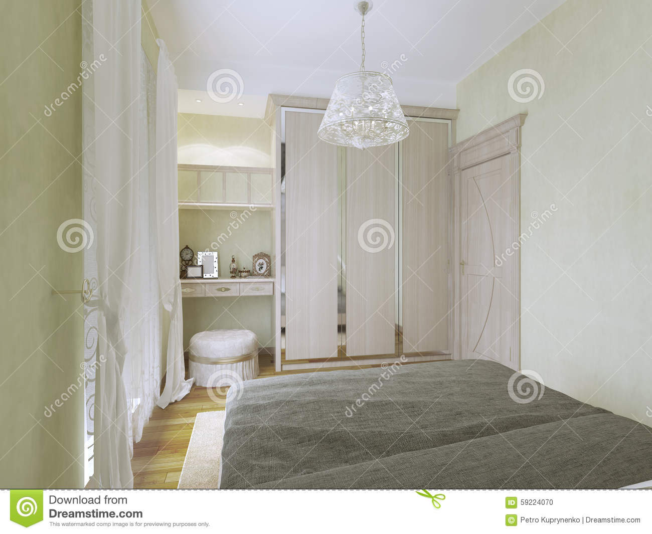 Modern Bedroom Dressing Table view of dressing table and wardrobe in modern bedroom stock photo