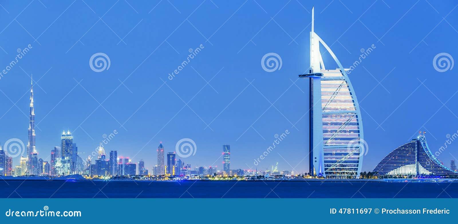 View of Dubai skyline by night