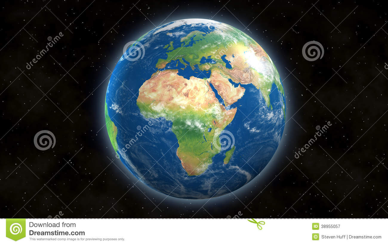 View Of Earth From Space With Africa And Europe Stock ...