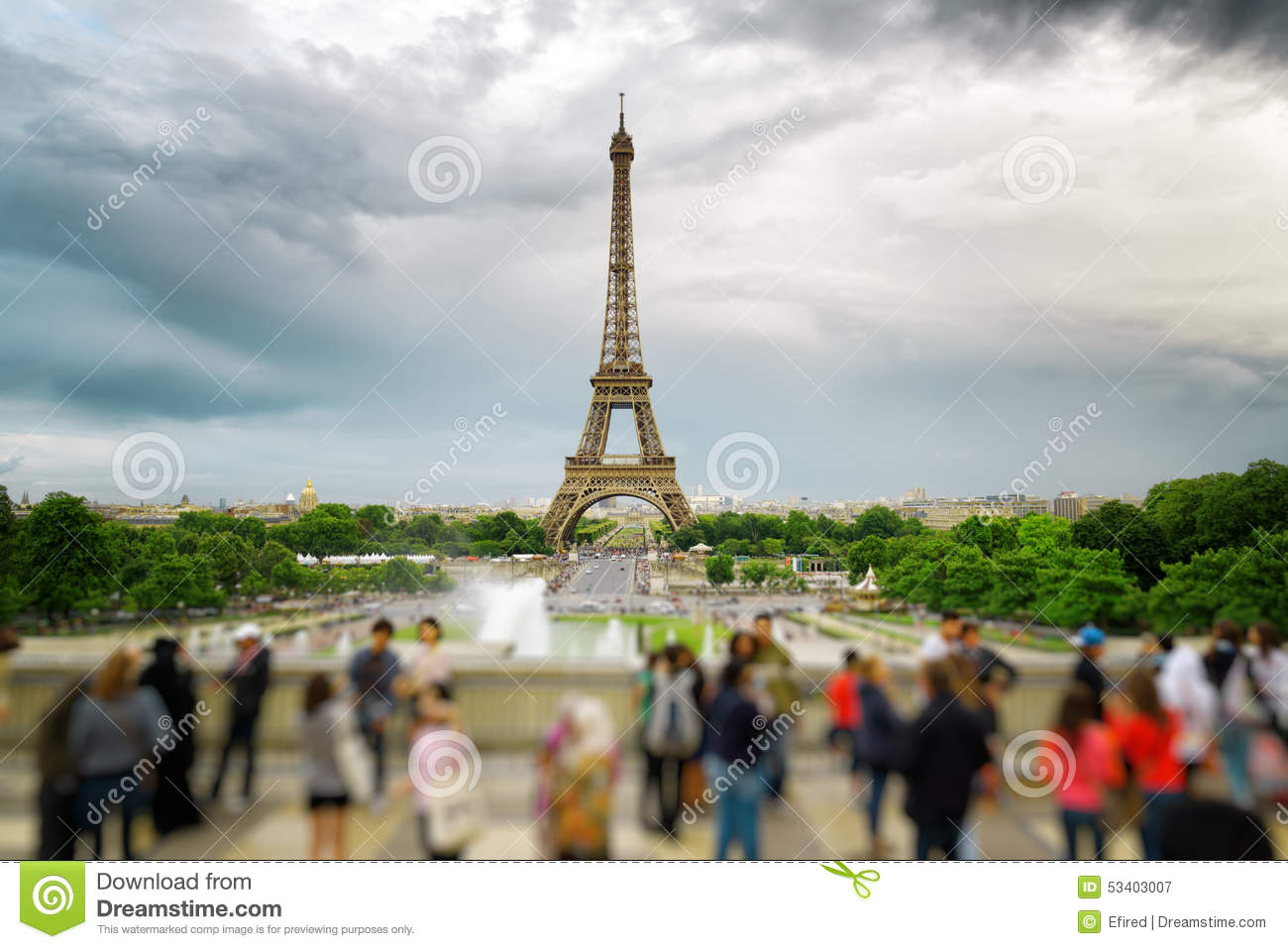 The View Of The Eiffel Tower Paris France Stock Photo Image 53403007