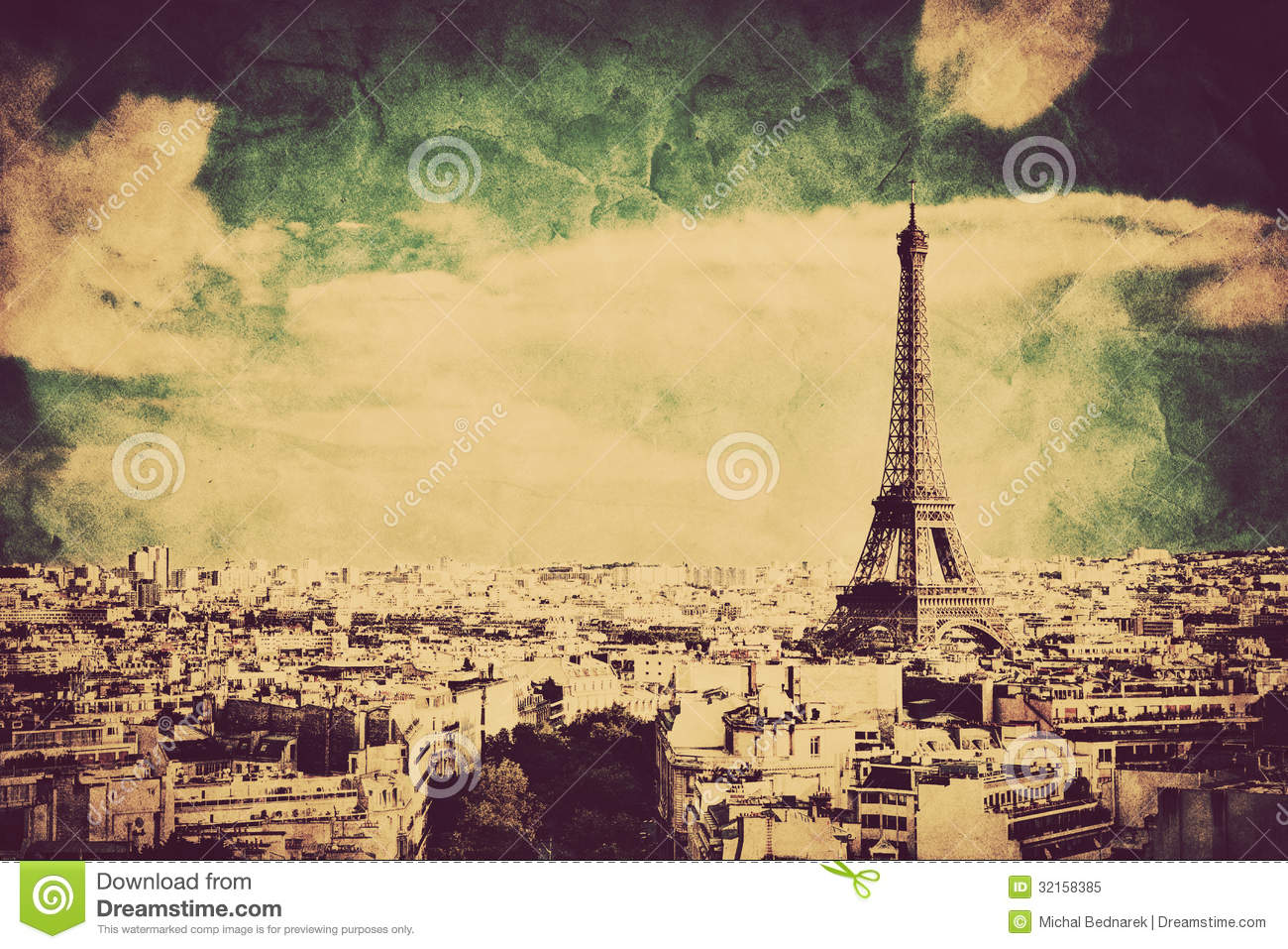 View On The Eiffel Tower And Paris France Retro Vintage
