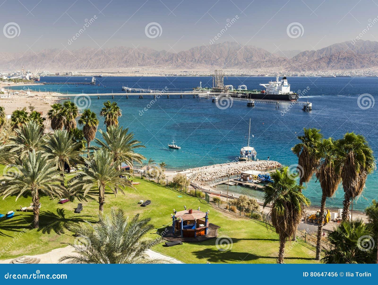 View from Eilat towards Aqaba in Jordan, Eilat. Israel.