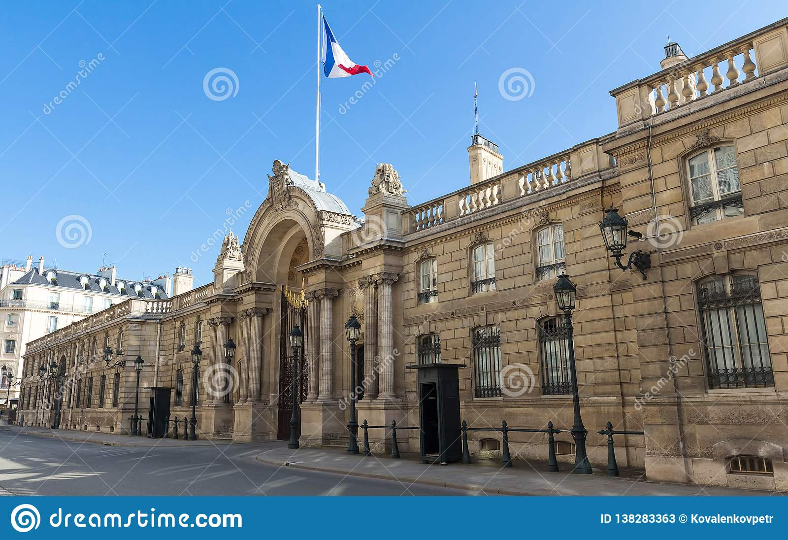 View of entrance gate of the Elysee Palace from the Rue du Faubourg Saint-Honore. Elysee Palace - official residence of