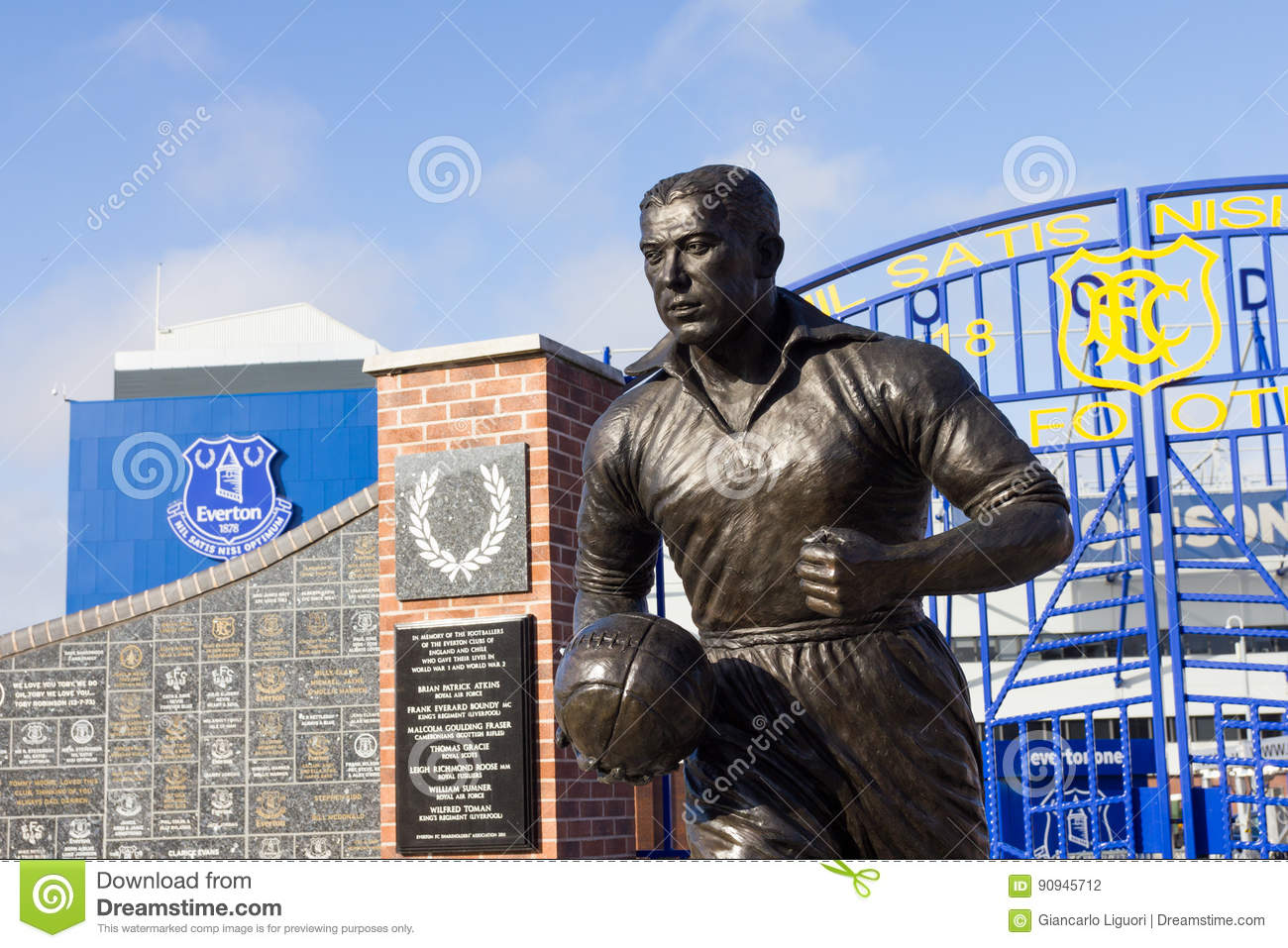 View The Everton Footbal Stadium And Statue Dixie Dean
