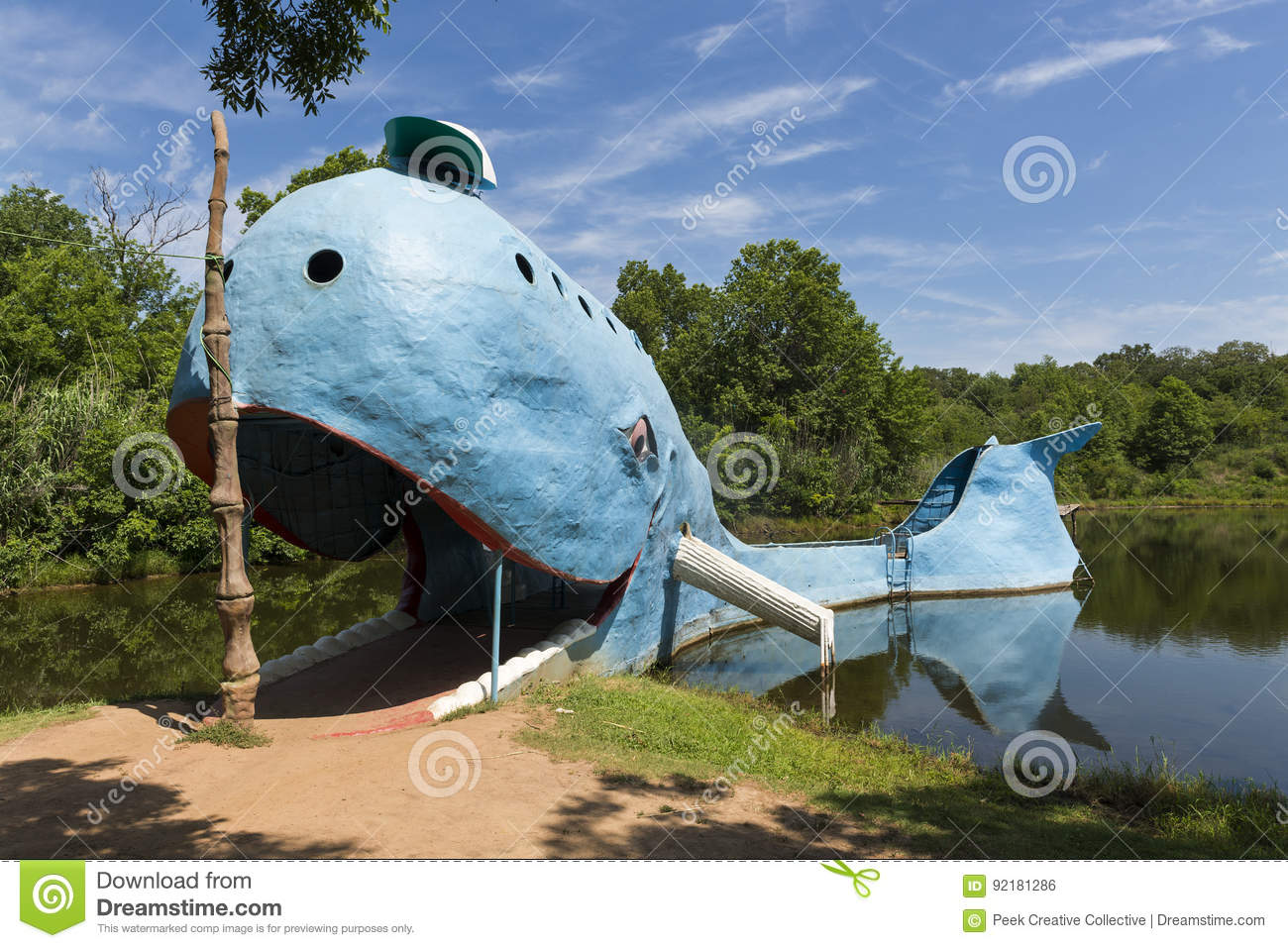 View of the famous road side attractions Blue Whale of Catoosa along the historic Route 66 in the State of Oklahoma, USA.