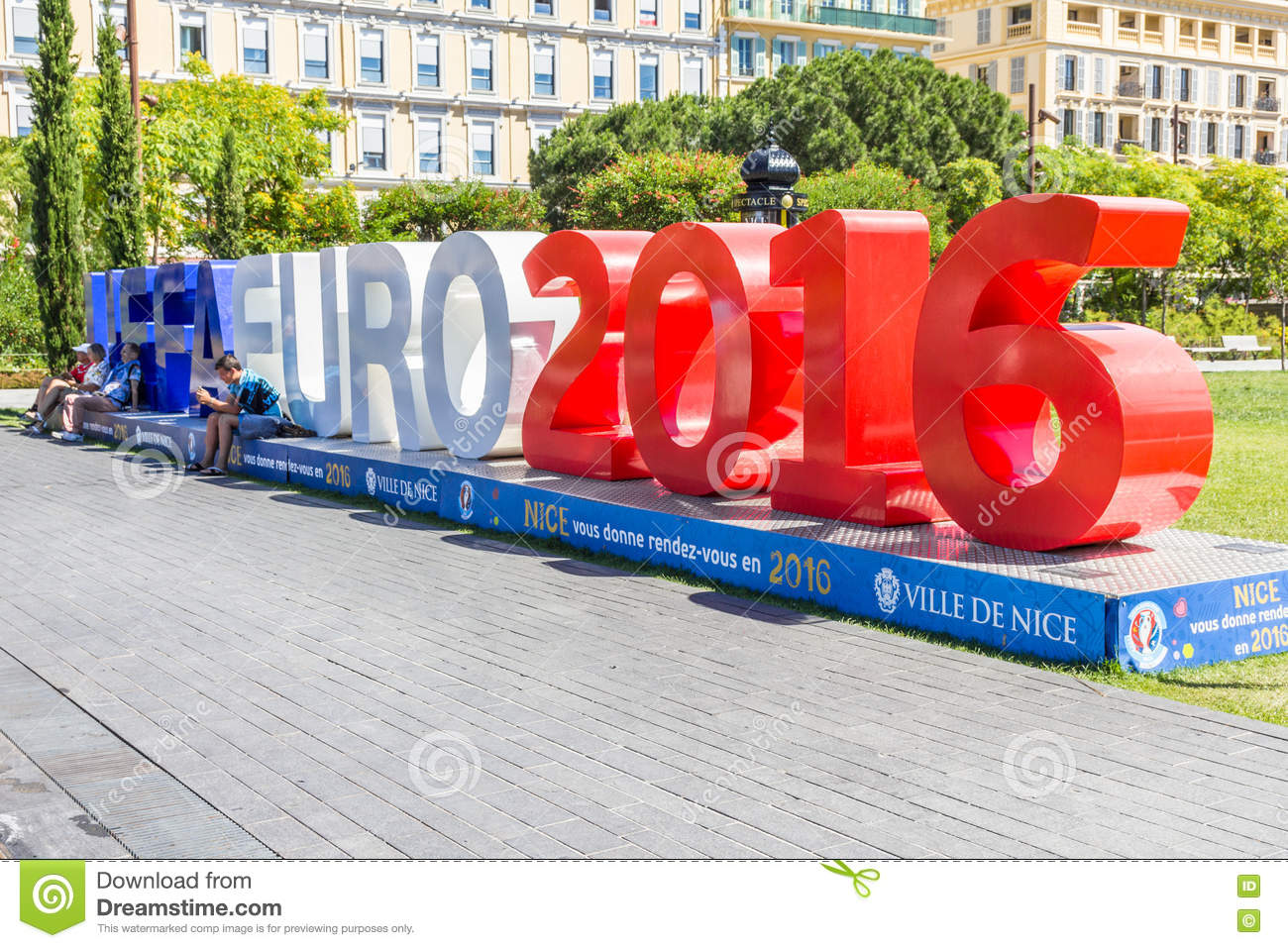 view of the fan zone for the eurocup 2016 in the place massena nice france editorial stock. Black Bedroom Furniture Sets. Home Design Ideas