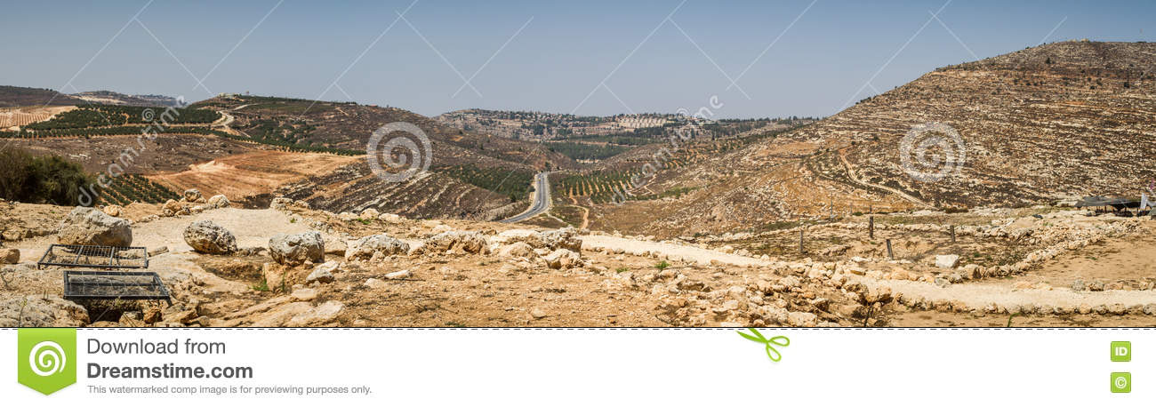 View of the farmland, settlement Shilo in Israel