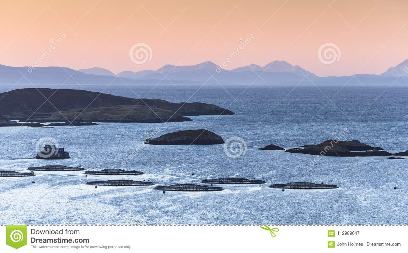 View of Fish farm and Isle of Skye looking out from Isle of Harris