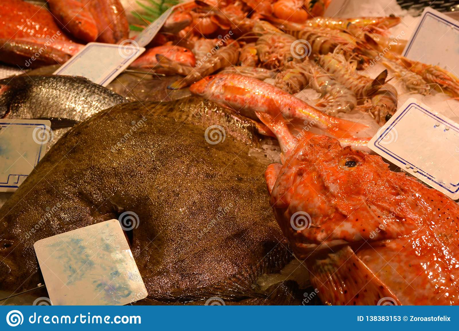 View of fish stall in food market, Barcelona
