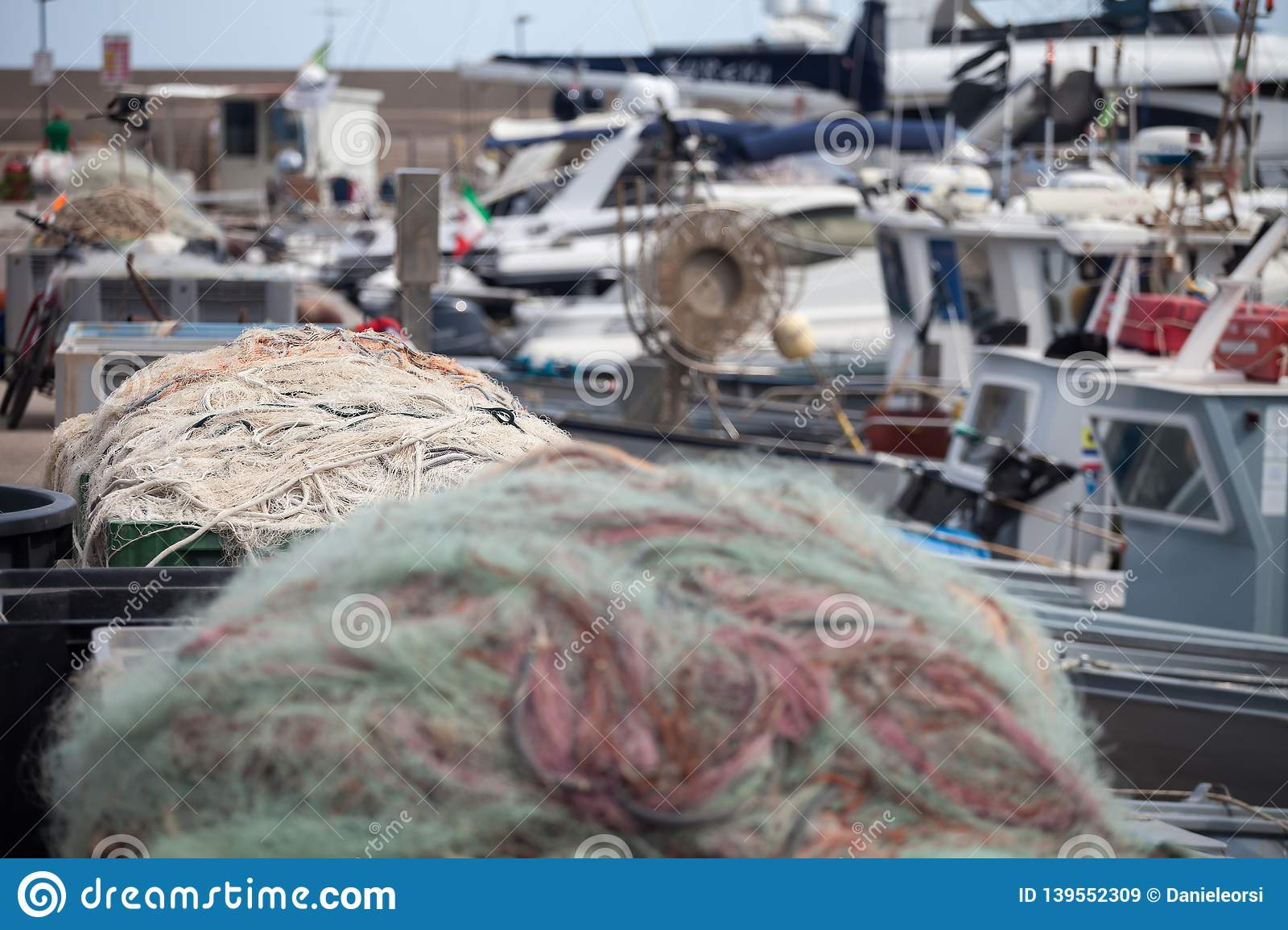 A view of fishing nets inside of the boat