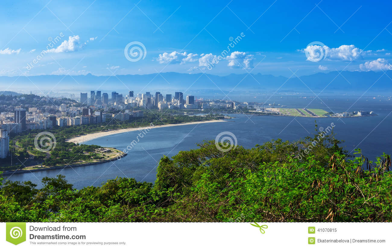View of Flamengo beach and district and Centro in Rio de Janeiro