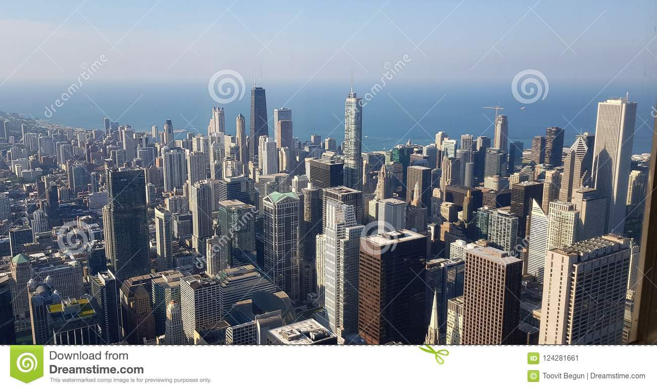 A View On Downtown Chicago From Willis Tower Stock Image