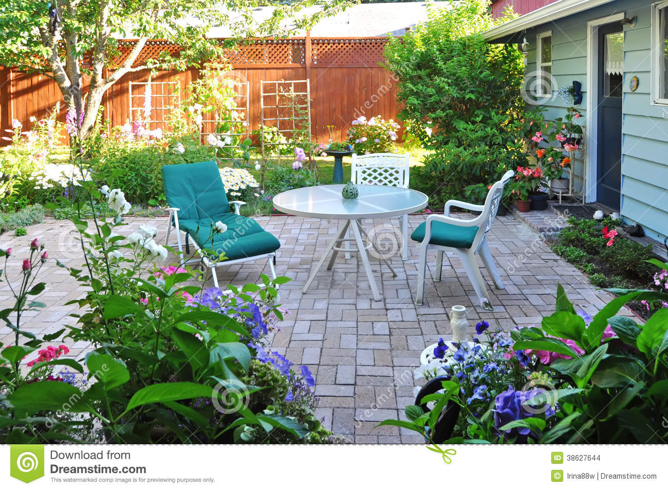 View Of Flower Garden And Backyard Patio Area Stock Images Image