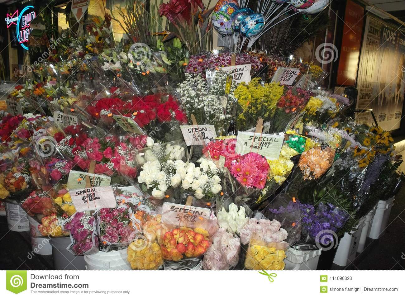 view of a flower shop editorial stock photo. image of outside