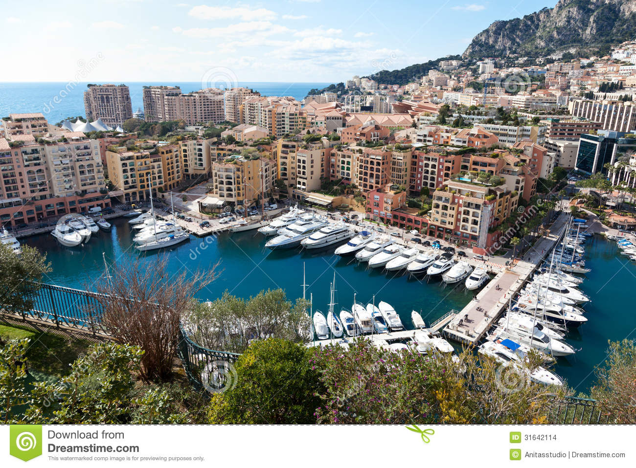 View Of Fontvieille And Harbour In Monac Stock Photo - Image: 31642114