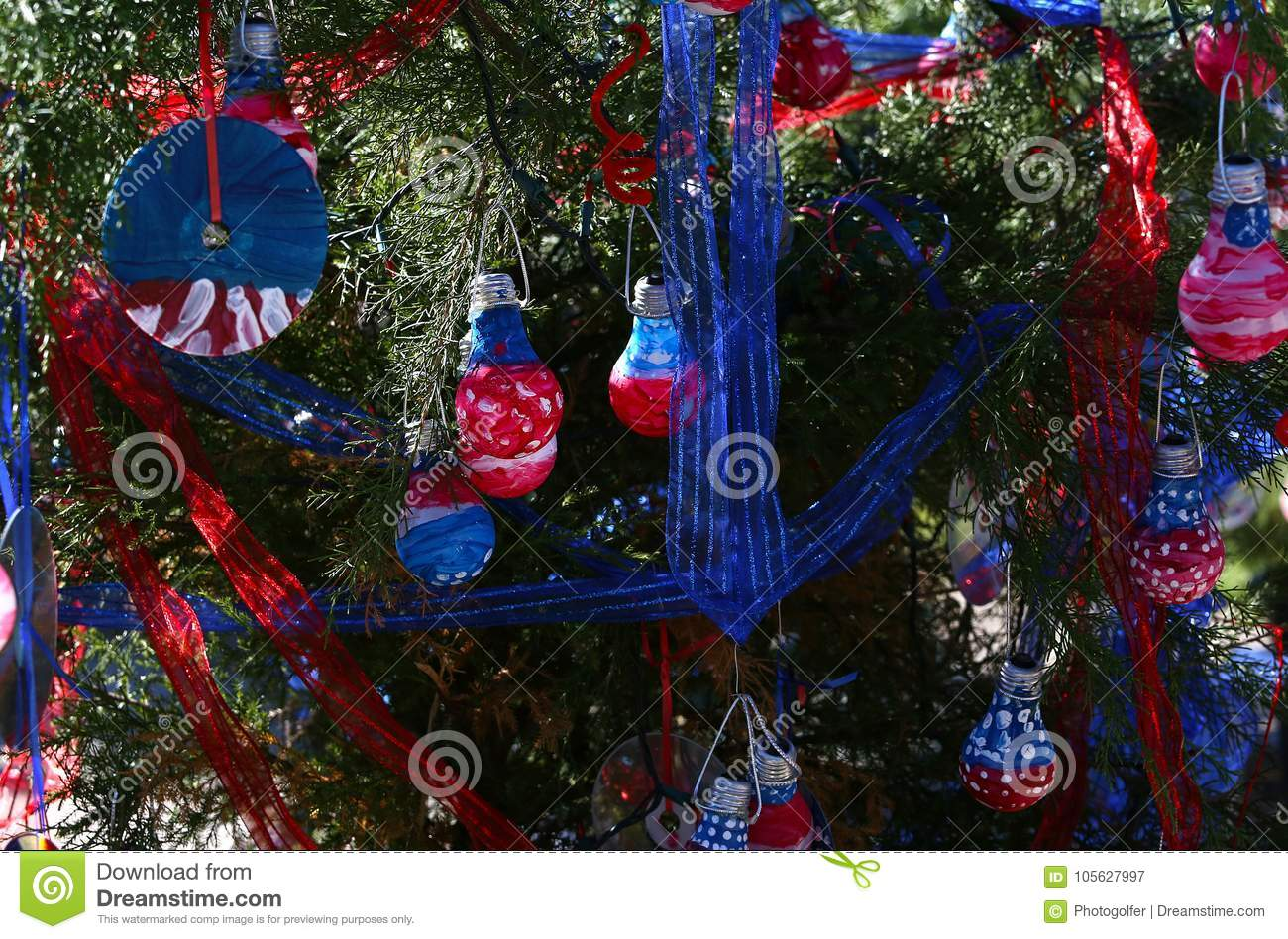 Patriotic Christmas Lights.Patriotic Christmas Tree In Fort Myers Florida Usa Stock