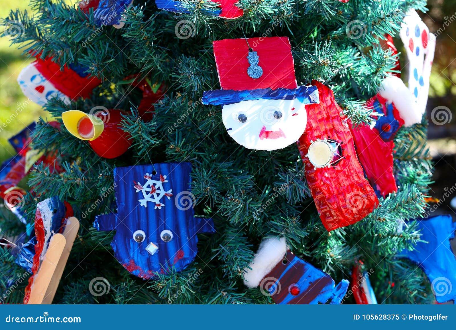 Patriotic Christmas.Patriotic Christmas Tree In Fort Myers Florida Usa Stock