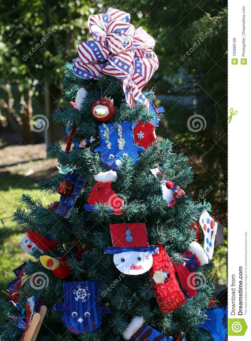 Patriotic Christmas Tree.Patriotic Christmas Tree In Fort Myers Florida Usa