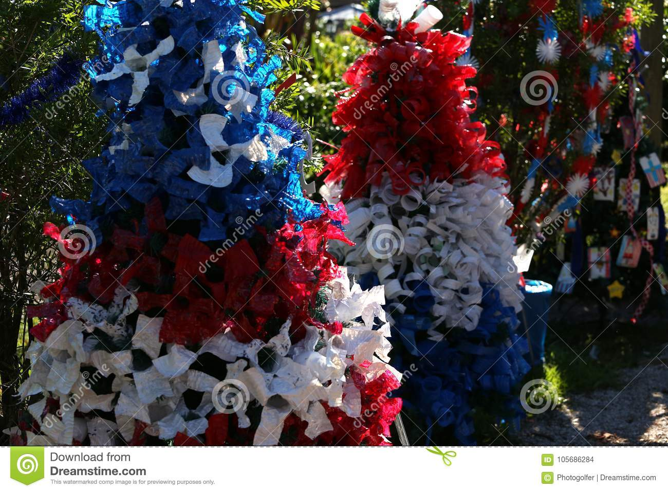 Patriotic Christmas.Patriotic Christmas Tree In Fort Myers Florida Usa Stock