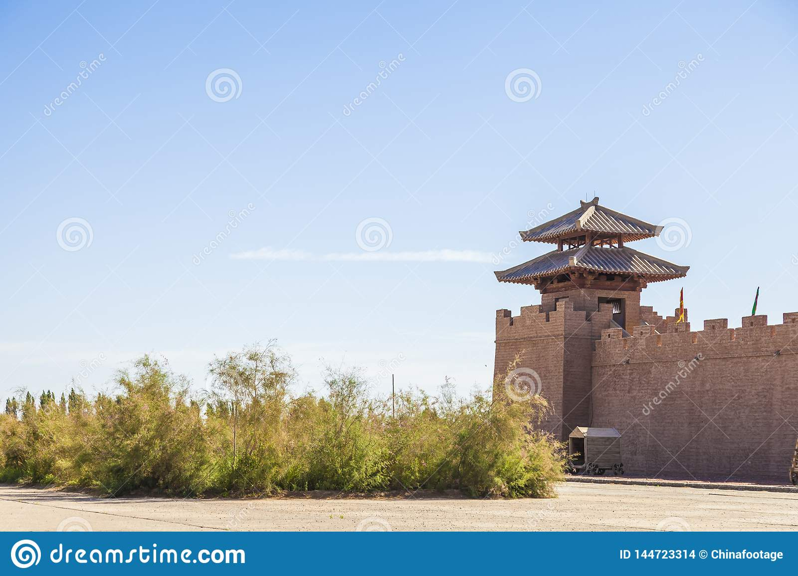 View of fortress wall and watchtower at the historical site of Yang Pass, in Yangguan, Gansu, China