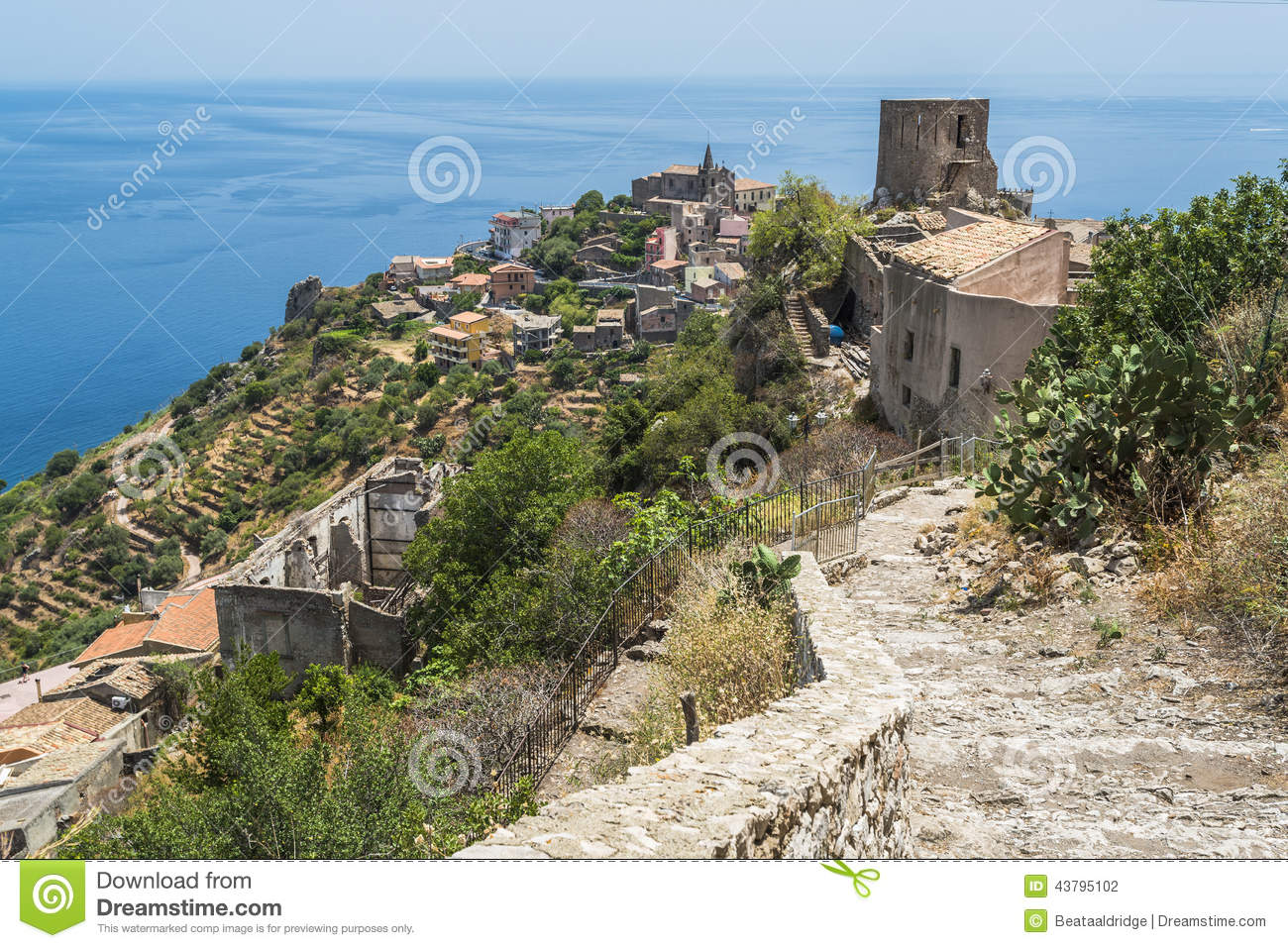 Italian House Plans View Of Forza D Agro Sicily Stock Photo Image 43795102
