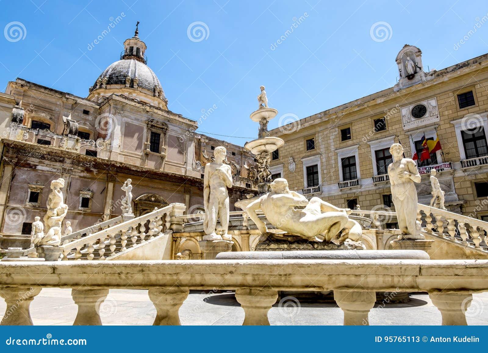 The view of the fountain in Piazza Pretoria in Palermo . Sicily