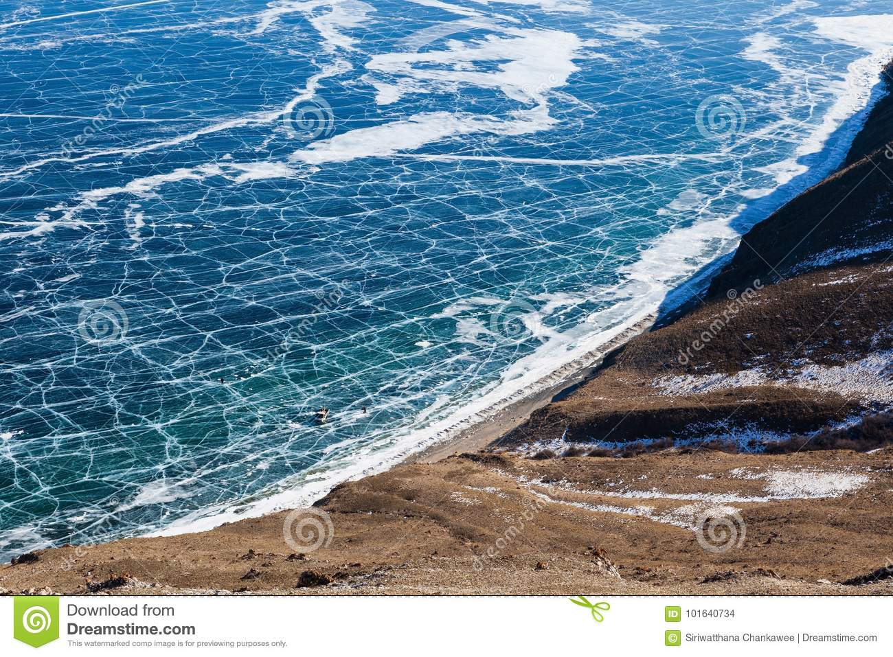View of frozen Baikal lake from above,Russia.