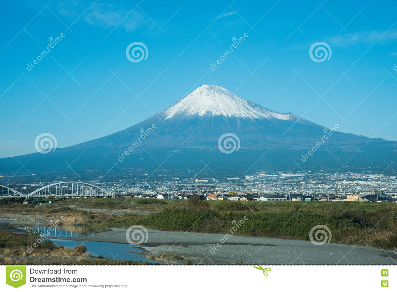 view of the fuji mountain in japan stock photo
